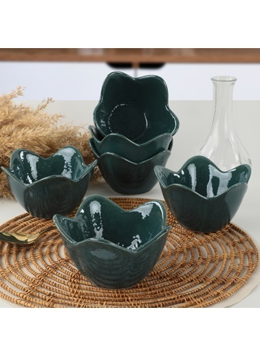 Keramika Keramika Luster Mavi Zambak Çerezlik 12 Cm 6 Adet Renkli